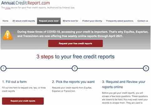 Free Credit Report Request